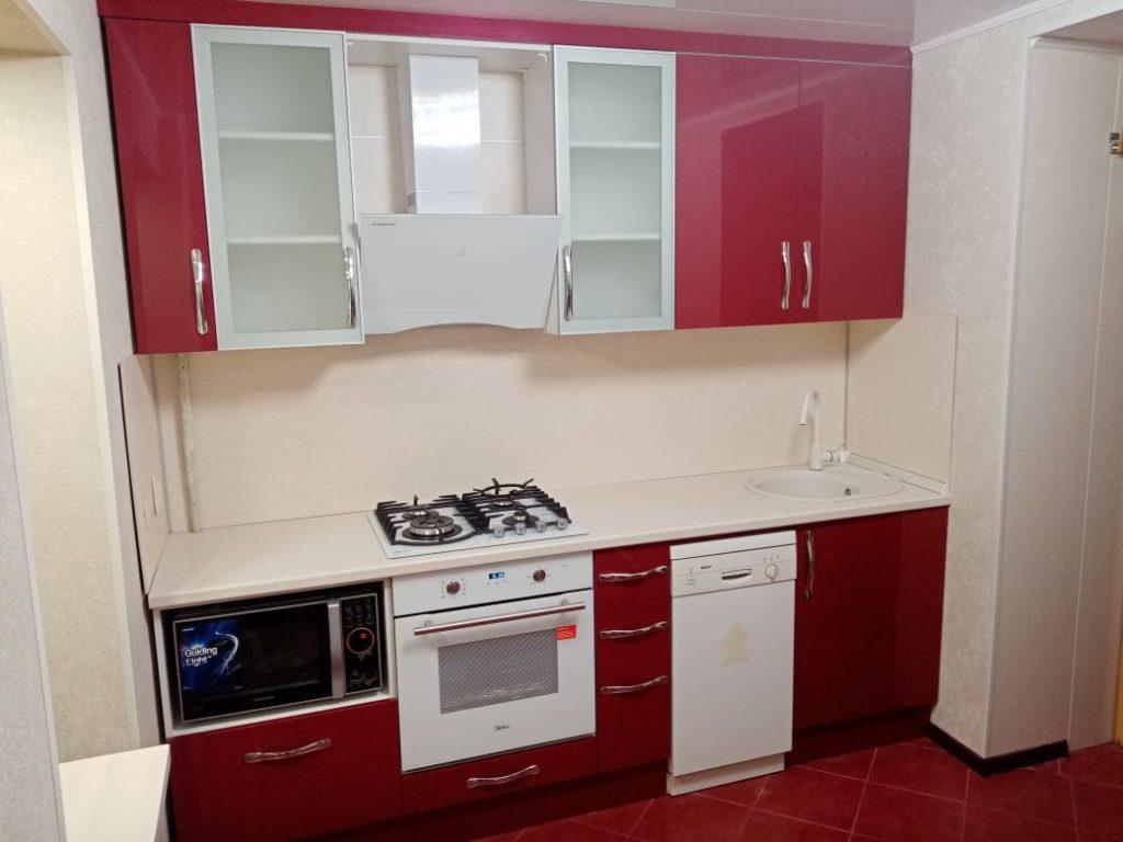 бордовый кухонный гарнитур