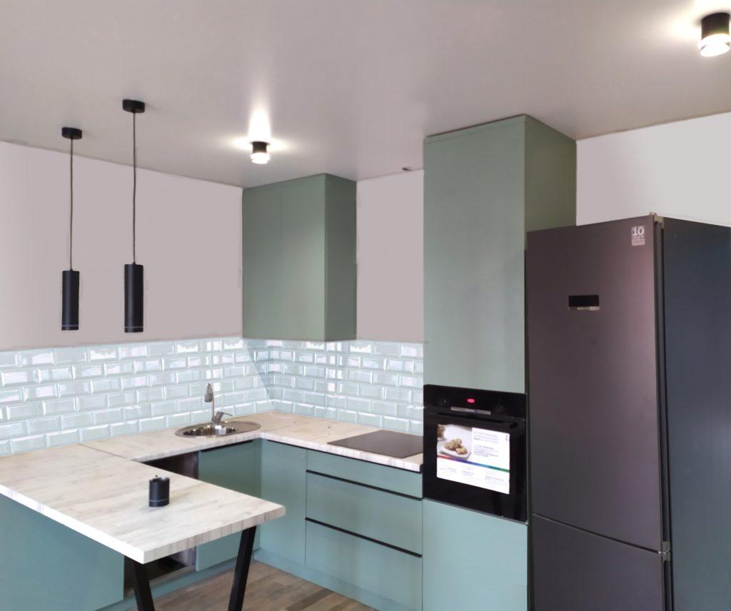 угловая кухня мятного цвета